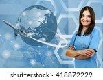 female doctor on virtual...   Shutterstock . vector #418872229