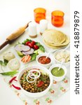 chick peas with indian paneer... | Shutterstock . vector #418879879