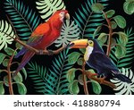 vector painting with tropical... | Shutterstock .eps vector #418880794
