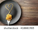 Heart Made With Pasta On The...