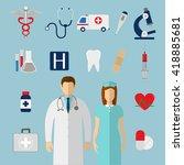 medical icons set. vector... | Shutterstock .eps vector #418885681