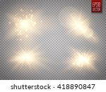 set of golden glowing lights... | Shutterstock .eps vector #418890847