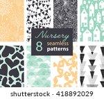 vector neutral nursery decor... | Shutterstock .eps vector #418892029