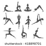 yoga pose silhouettes. vector... | Shutterstock .eps vector #418898701