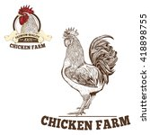 chicken farm premium quality.... | Shutterstock .eps vector #418898755