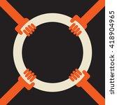 4 hands holding a hoop as a... | Shutterstock .eps vector #418904965