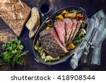 roast beef with vegetable and... | Shutterstock . vector #418908544