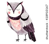 Stock photo watercolor funny kids illustration with owl hand drawn animal drawing owl bird painting perfect 418910167