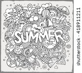 summer hand lettering and... | Shutterstock .eps vector #418911211