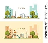 public park in the city. vector ... | Shutterstock .eps vector #418913194