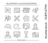 blueprint and engineering... | Shutterstock .eps vector #418913794