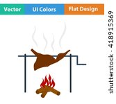 flat design icon of roasting...