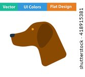 flat design icon of hinting dog ...