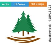 flat design icon of fir forest...