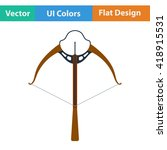 flat design icon of crossbow in ...