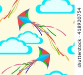 seamless background with kites... | Shutterstock .eps vector #418920754