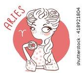 zodiac signs aries. vector... | Shutterstock .eps vector #418921804