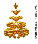 abstract 3d illustration of golden stylized christmas tree isolated over white - stock photo