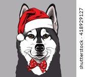siberian husky portrait in a...   Shutterstock .eps vector #418929127