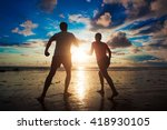 sunset silhouette of young... | Shutterstock . vector #418930105
