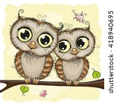 greeting card with two cute... | Shutterstock .eps vector #418940695