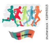 watercolor running people. set... | Shutterstock .eps vector #418945015