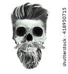 skull print black grunge vector ... | Shutterstock . vector #418950715