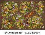colorful vector hand drawn... | Shutterstock .eps vector #418958494