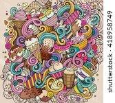 cartoon hand drawn doodles ice... | Shutterstock .eps vector #418958749