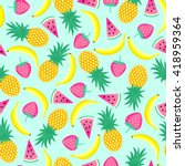 seamless pattern with yellow... | Shutterstock .eps vector #418959364