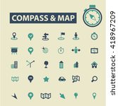 compass map icons  | Shutterstock .eps vector #418967209