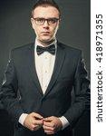 portrait of brutal handsome man ... | Shutterstock . vector #418971355