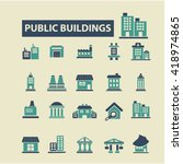 buildings icons  | Shutterstock .eps vector #418974865