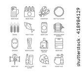 thin line beer logo concept.... | Shutterstock .eps vector #418984129