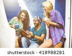 diverse friends people group...   Shutterstock . vector #418988281