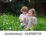 beautiful little girl collects... | Shutterstock . vector #418988734