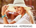 Pretty Smiling Summer Woman In...