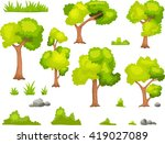 set of cartoon green plant and... | Shutterstock .eps vector #419027089