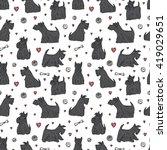 Dog Vector Seamless Pattern....