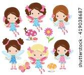 cute garden fairy vector... | Shutterstock .eps vector #419038687