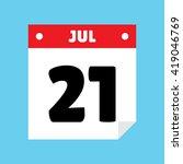 calendar icon flat july 21