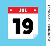 calendar icon flat july 19