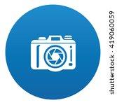 camera icon design on blue...