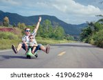 father and son playing  on the... | Shutterstock . vector #419062984