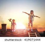 two little children playing on... | Shutterstock . vector #419071444