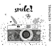photo camera with flowers and... | Shutterstock .eps vector #419074981