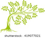 green tree silhouette  | Shutterstock .eps vector #419077021