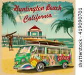 huntington beach california... | Shutterstock .eps vector #419090701
