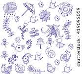 blue garden of doodle art with... | Shutterstock .eps vector #419093059
