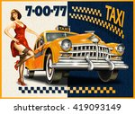 taxi card with pin up girl and... | Shutterstock .eps vector #419093149